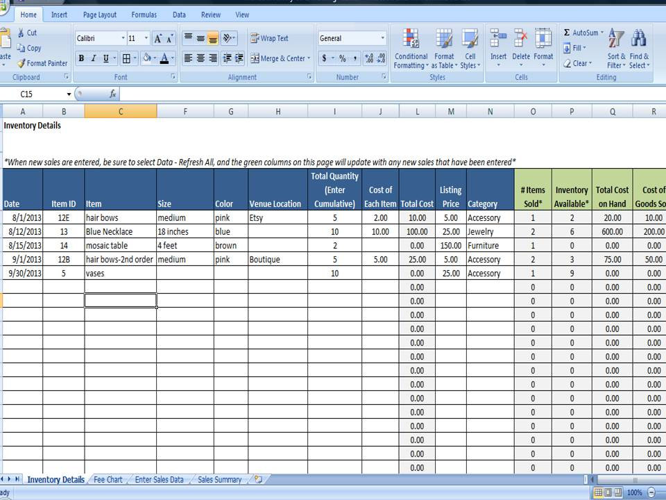 Inventory and Sales Manager Free Excel Template for