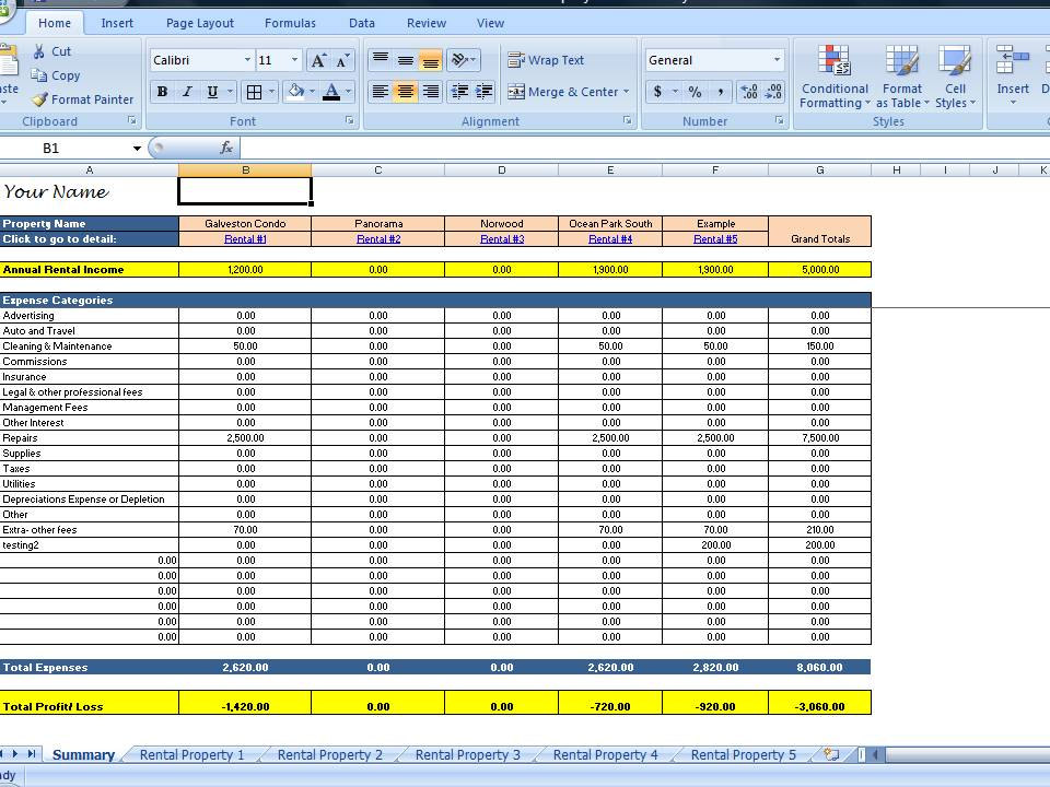 Excel Template For Rental Property