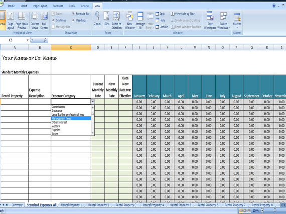 rental property spreadsheet template