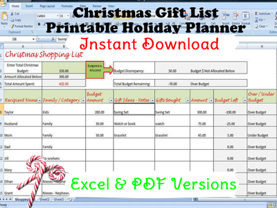 Christmas List Template.Christmas Gift List Template Holiday Gift Planner Instant Download