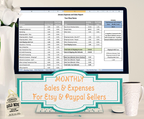 Sales And Expenses Excel Template Importer For Etsy And Paypal