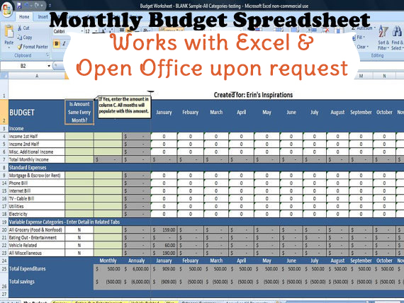 Monthly Budget Worksheet, Monthly Household Budget Template