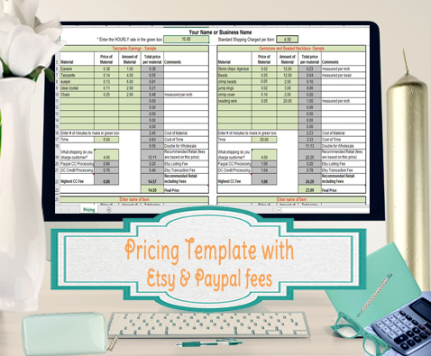 product pricing calculator template for etsy and paypal seller