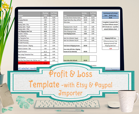 Profit and Loss Template for Self Employed - Etsy and Paypal Sellers ...