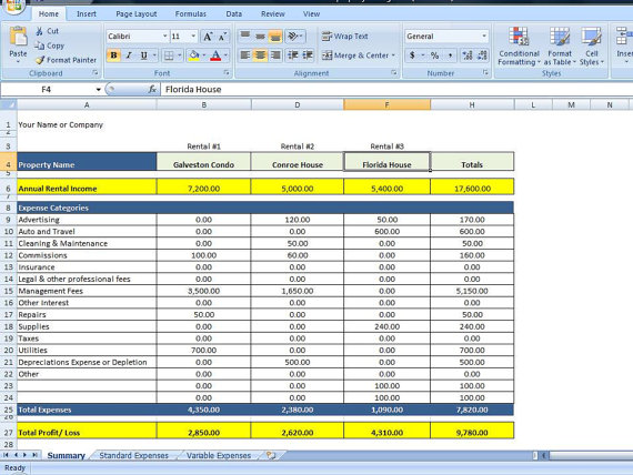 property management excel spreadsheet