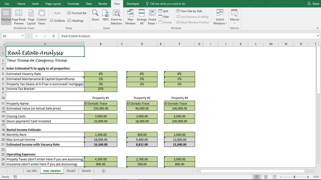 investment property analysis spreadsheet