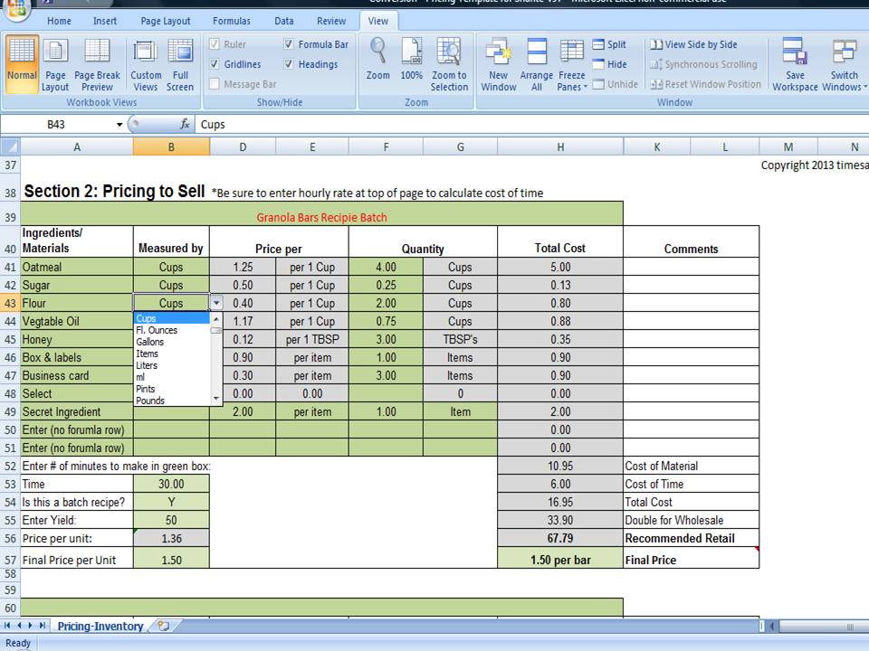 Bake Sale Pricing Calculator with Kitchen Conversions, How to Price Your Goodies
