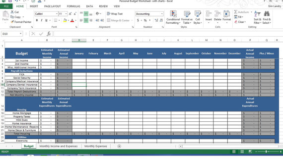 personal expense tracker worksheet  budget chart template