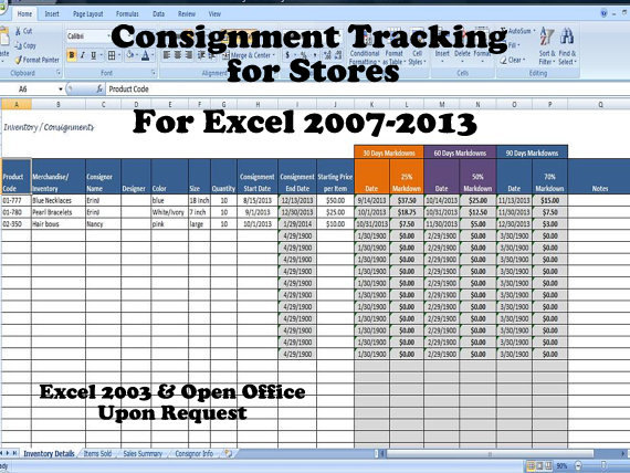 Inventory and sales consignment tracking for stores track for Excel shipping tracking template