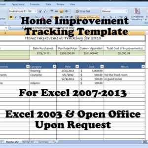 Home Improvement Tracking Template in Excel Spreadsheet