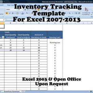 Inventory Tracking Template, Calculates Running Tally of Inventory on Hand