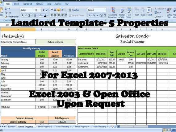 Landlord Rental Income And Expenses Tracking Spreadsheet 5 80 Properties