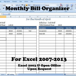 Monthly Bill Organizer, Bill Tracker - Calculates Total Due for 1st & 2nd Half of the Month