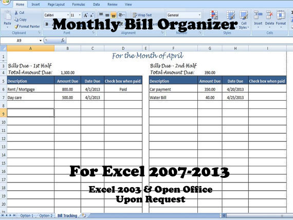 monthly bill organizer template