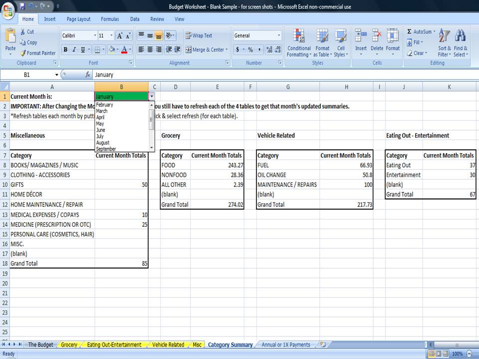 monthly budget worksheet  monthly household budget template
