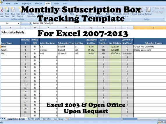 Subscription tracker template for sellers product of the for Excel shipping tracking template