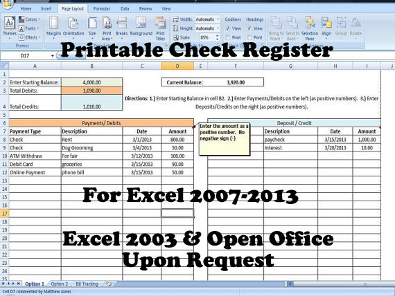 Checkbook Register Spreadsheet, Check Register Template Excel