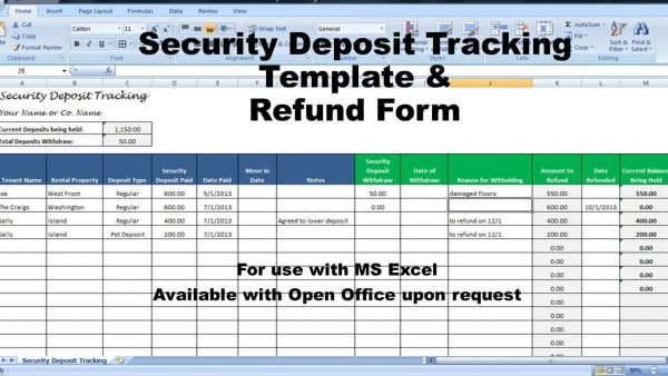 Rental Deposit Tracking Form, Landlord Tenant Security Deposit Agreement,  Rent Deposit Return Tracking