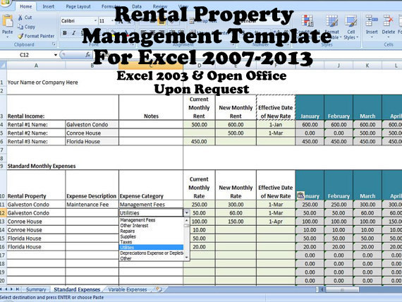 rental income and expense excel spreadsheet property
