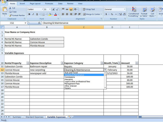 rental income and expense excel spreadsheet  property management tracking template