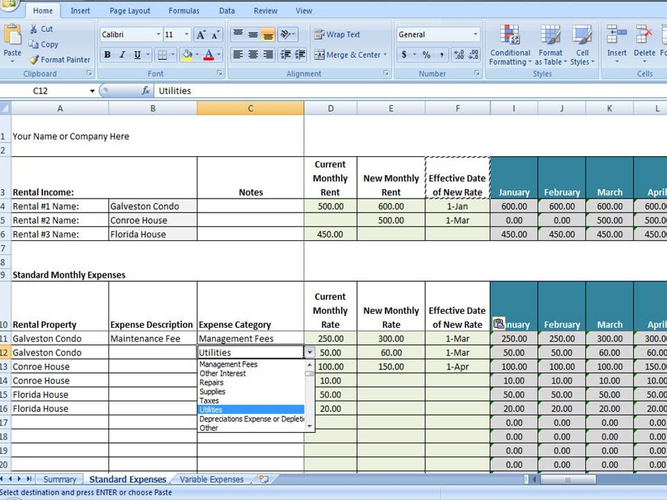 Vrbo accounting excel worksheet excel template for for Inventory for rental property template