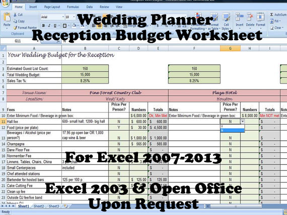 Wedding Reception Planner Template Reception Budget Calculator
