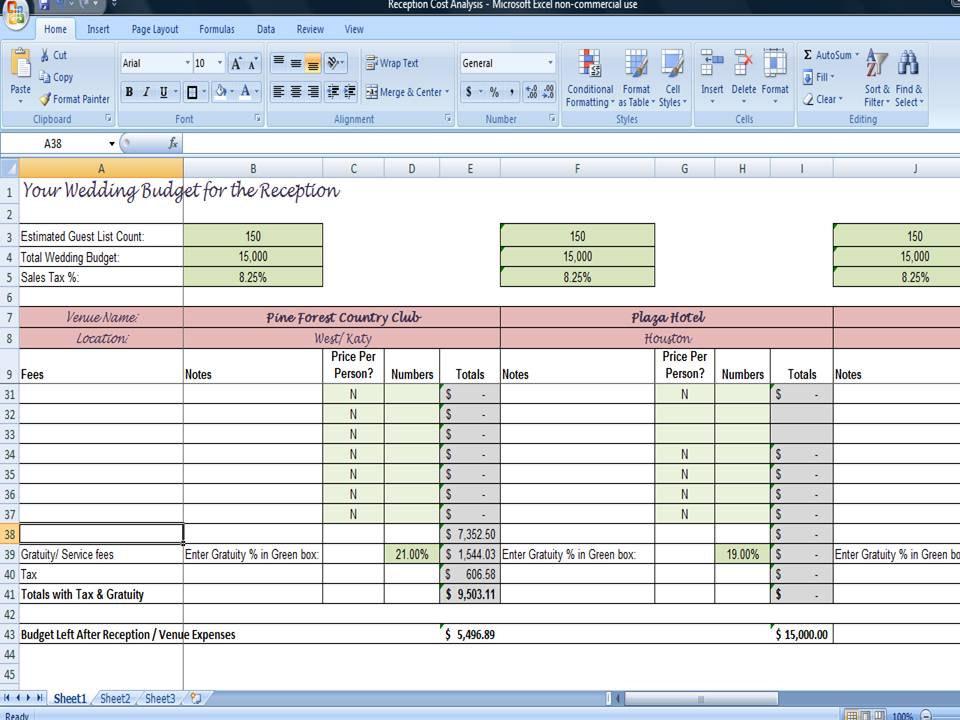 wedding reception planner template  reception budget