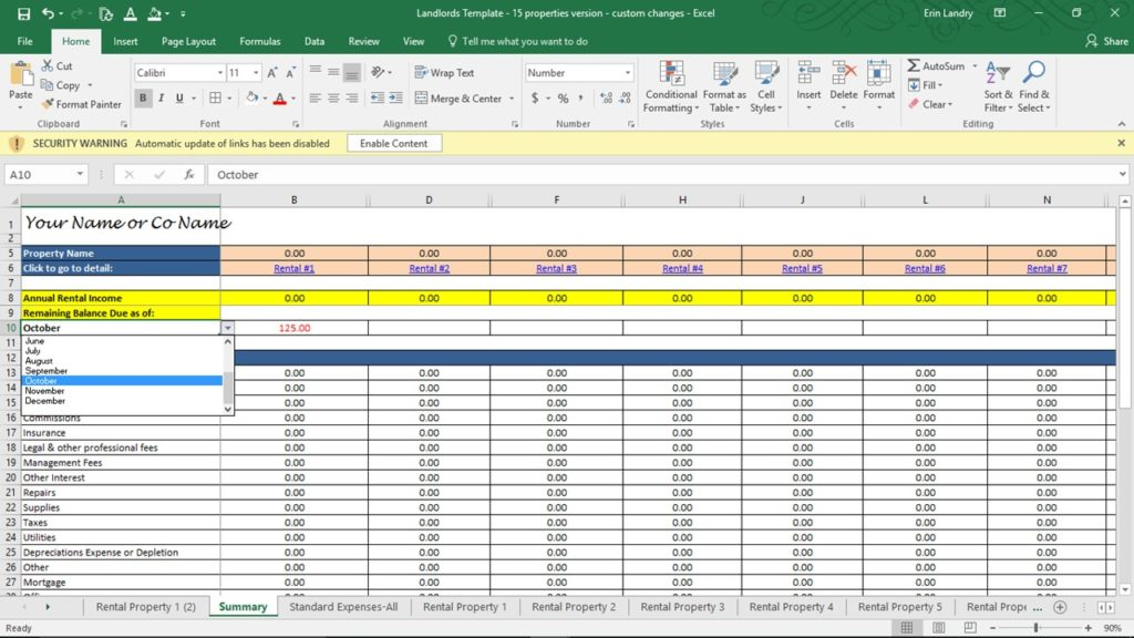 track rent and late fees  landlord expenses spreadsheet