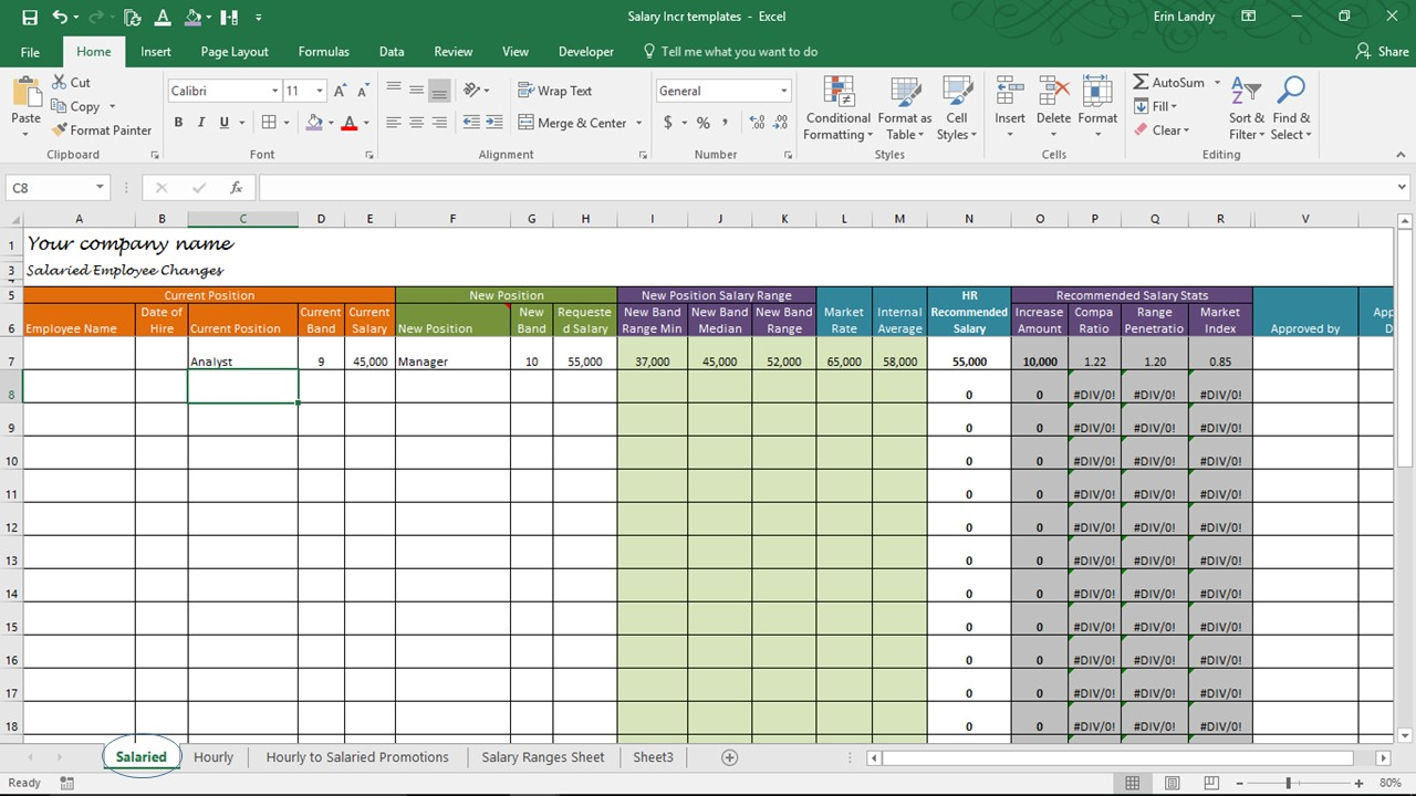 Salary Increase Template Excel, Compensation Metrics Calculations -