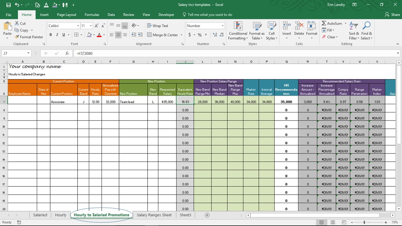 Salary Increase Template Excel, Compensation Metrics Calculations ...