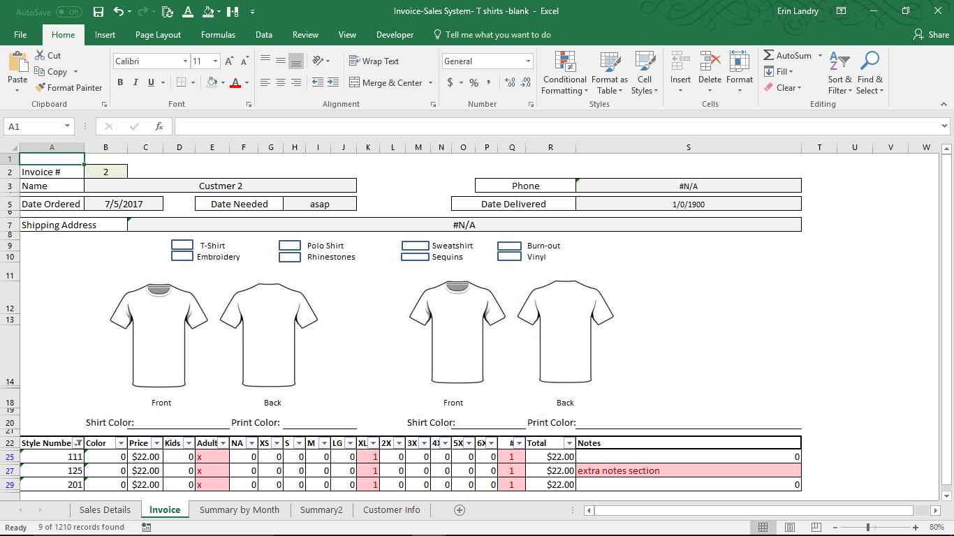 Invoice And Sales System For T Shirt Makers