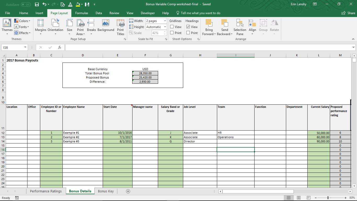 Variable compensation plan template for Performance bonus template