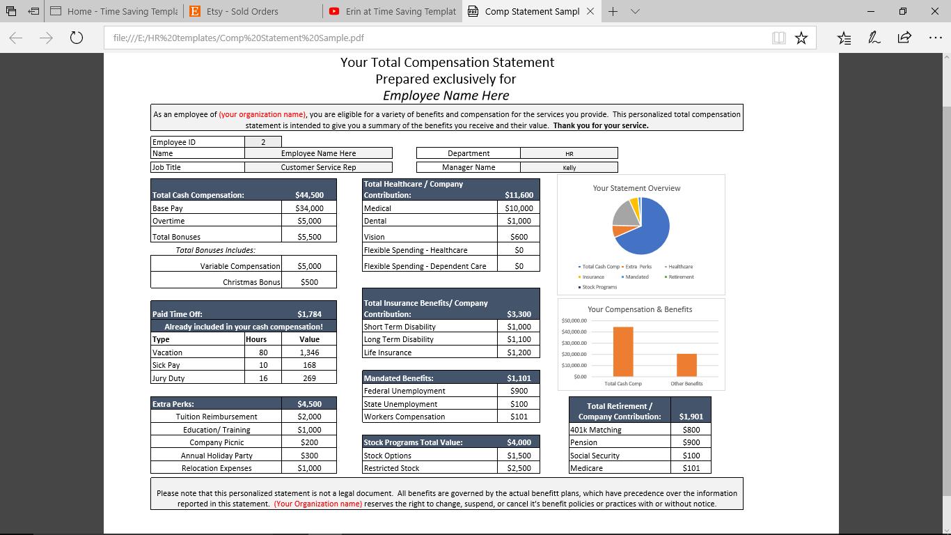 employee total rewards statement  total compensation