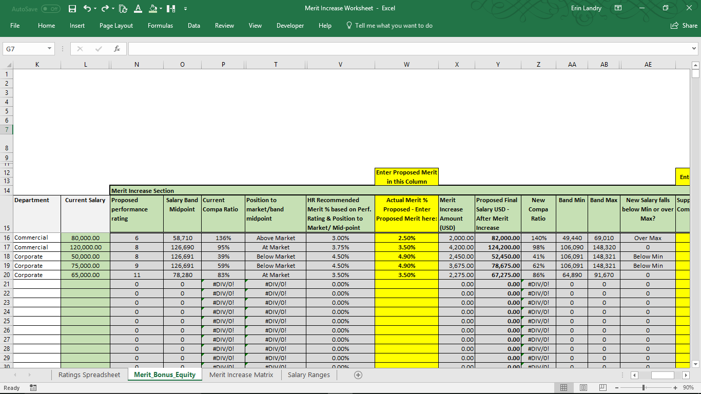 Annual Merit Increase Matrix - Excel Template for Compensation -