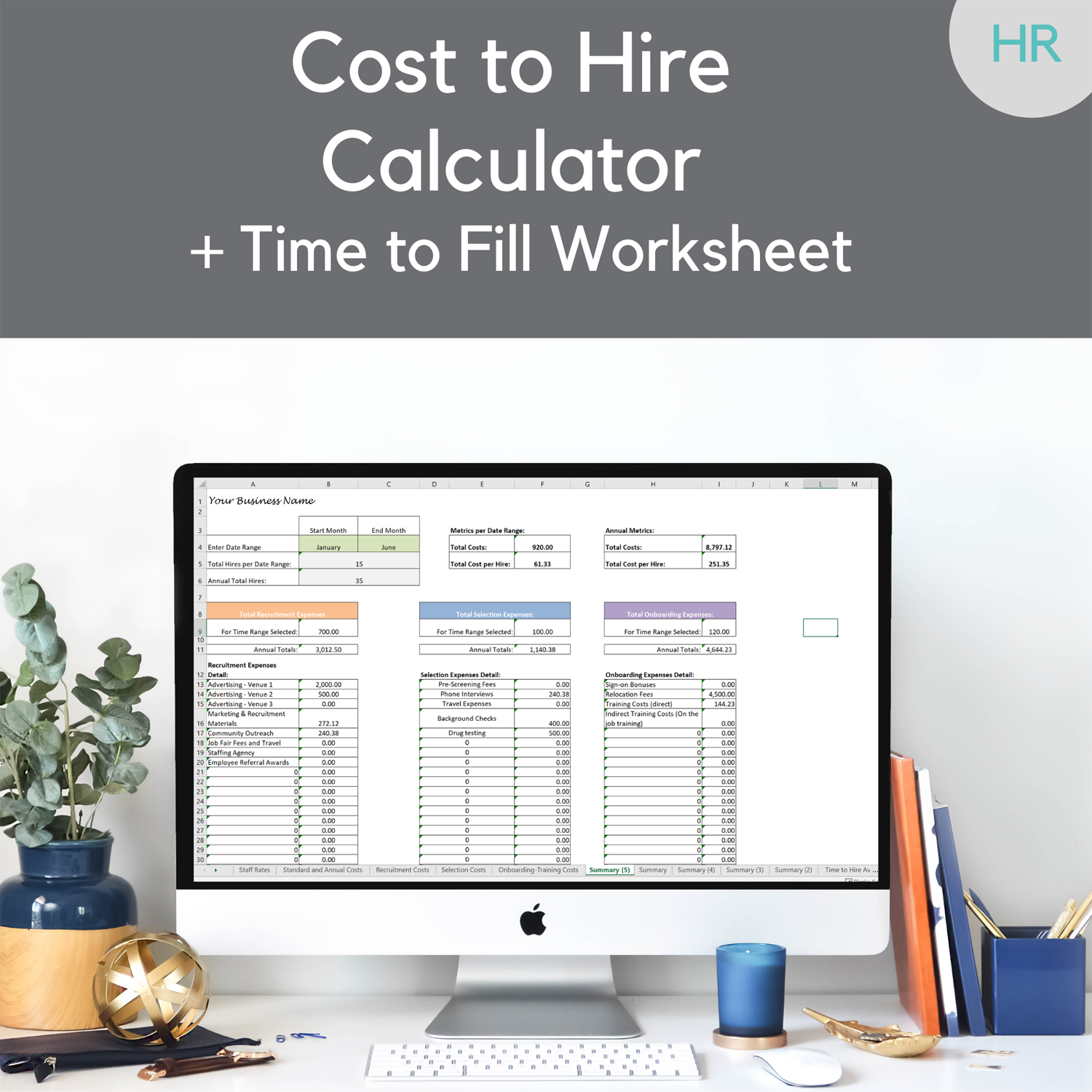 Cost to Hire Worksheet Template-w