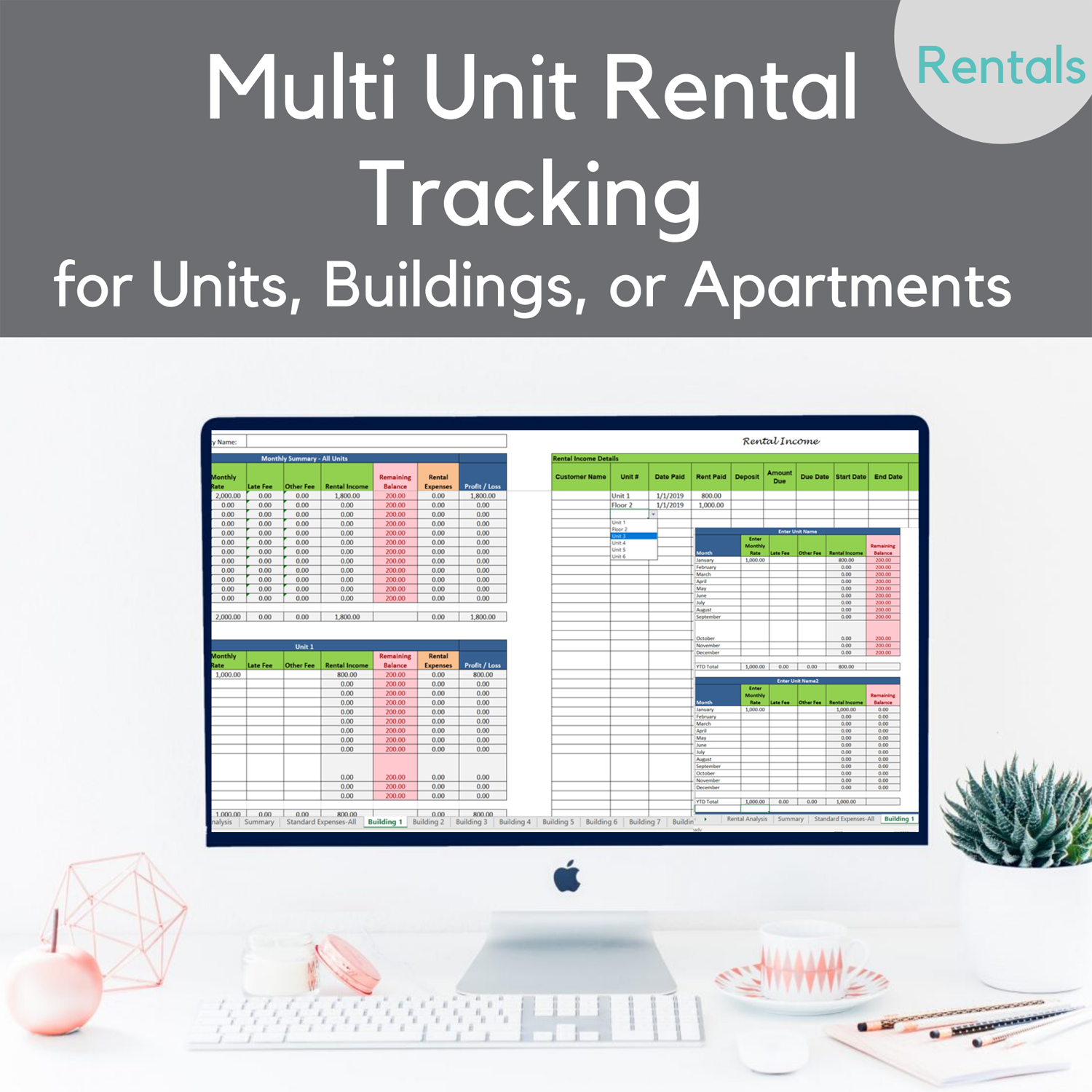 Multi Unit property income expenses tracking template